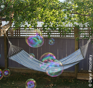 backyard hammock and bubbles